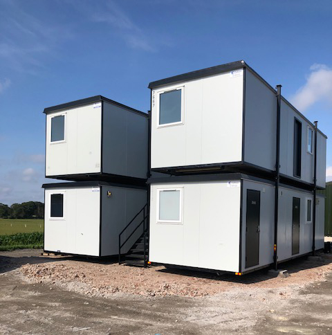 stacked office cabins